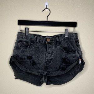 One teaspoon black cutout ripped shorts